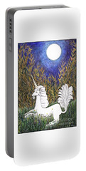 Portable Battery Charger featuring the painting September Unicorn by Lise Winne