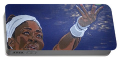 Portable Battery Charger featuring the painting Serena Williams by Rachel Natalie Rawlins
