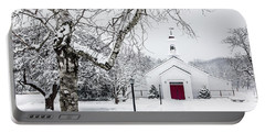 Serene Snowy Chapel - Happy Holidays Portable Battery Charger
