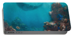 Serenity - Hawaiian Underwater Reef And Manta Ray Portable Battery Charger by Karen Whitworth