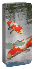 Portable Battery Charger featuring the photograph Serenity - Red And White Koi by Gill Billington