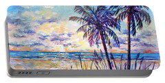 Serenity Under The Palms Portable Battery Charger by Lou Ann Bagnall