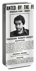 Serial Killer Ted Bundy Portable Battery Charger by Daniel Hagerman
