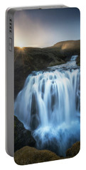 Setting Sun Above Iceland Waterfall Portable Battery Charger