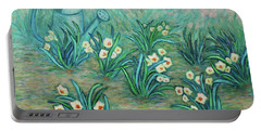 Portable Battery Charger featuring the painting Seven Daffodils by Xueling Zou