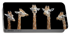 Seven Giraffes With Different Facial Expressions Portable Battery Charger