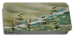 Seven Sandpipers At The Seashore  Portable Battery Charger