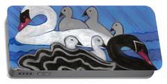 Portable Battery Charger featuring the painting Seven Swans Swimming by Denise Weaver Ross