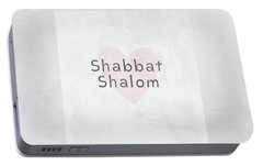 Portable Battery Charger featuring the mixed media Shabbat Shalom Soft Heart- Art By Linda Woods by Linda Woods