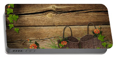 Shabby Chic Flowers In Rustic Basket Portable Battery Charger