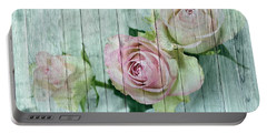 Shabby Chic Pink Roses On Blue Wood Portable Battery Charger