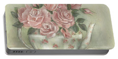 Shabby Teapot Rose Painting Portable Battery Charger