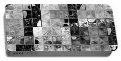 Shades Of Gray Tile Mosaic. Tile Art Painting Portable Battery Charger by Mark Lawrence