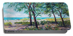 Portable Battery Charger featuring the painting Shades Of Longboat Key by Lou Ann Bagnall