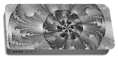 Portable Battery Charger featuring the digital art Shades Of Silver by Lea Wiggins