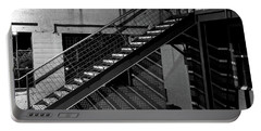 Portable Battery Charger featuring the photograph Shadow Of Stairs In Mono by Christopher McKenzie