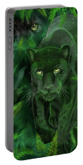 Portable Battery Charger featuring the mixed media Shadow Of The Panther by Carol Cavalaris