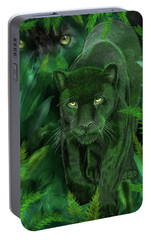 Shadow Of The Panther Portable Battery Charger by Carol Cavalaris
