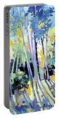 Portable Battery Charger featuring the painting Shadowed Walk by Rae Andrews