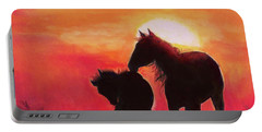 Portable Battery Charger featuring the painting Shadows Of The Sun by Karen Kennedy Chatham
