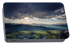 Portable Battery Charger featuring the photograph Shadows Over Mountains by Chris Bordeleau