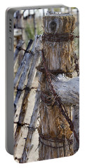 Portable Battery Charger featuring the photograph Shaggy Fence Post by Phyllis Denton