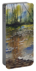 Portable Battery Charger featuring the painting Shallow Water by Sam Sidders