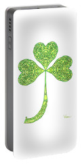 Portable Battery Charger featuring the drawing Shamrock With Curled Stem by Lise Winne