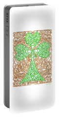 Portable Battery Charger featuring the drawing Shamrock With Knotted Background by Lise Winne