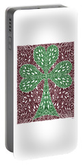 Portable Battery Charger featuring the digital art Shamrock With Leaves by Lise Winne