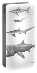 Sharks In The Deep Ocean Portable Battery Charger