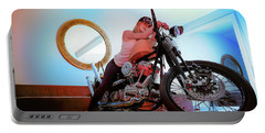 Portable Battery Charger featuring the photograph She Rides- by JD Mims