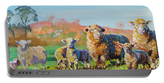 Sheep And Lambs In Devon Landscape Bright Colors Portable Battery Charger