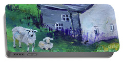 Portable Battery Charger featuring the painting Sheep In Scotland  by Claire Bull