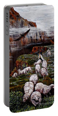 Portable Battery Charger featuring the painting Sheep In The Mountains  by Judy Kirouac