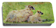 Sheep In The Spring Time,la Vie Est Belle Portable Battery Charger