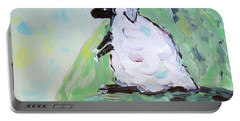 Portable Battery Charger featuring the painting Sheep On A Hill by Maria Langgle
