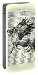 Sheep With Angel Wings Black And White  Portable Battery Charger