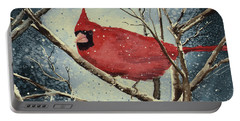 Portable Battery Charger featuring the painting Shelly's Cardinal by Sam Sidders