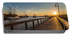 Shem Creek Pier Sunset - Mt. Pleasant Sc Portable Battery Charger