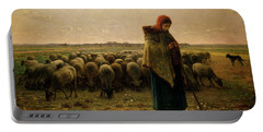 Shepherdess With Her Flock Portable Battery Charger