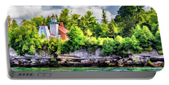 Portable Battery Charger featuring the painting Sherwood Point Lighthouse by Christopher Arndt