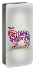 Portable Battery Charger featuring the painting Shetland Sheepdog Watercolor Painting / Typographic Art by Inspirowl Design