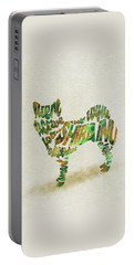 Portable Battery Charger featuring the painting Shiba Inu Watercolor Painting / Typographic Art by Inspirowl Design