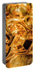 Shiny Gold Rings Portable Battery Charger