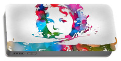 Shirley Temple Watercolor Paint Splatter Portable Battery Charger by Dan Sproul