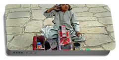 Portable Battery Charger featuring the digital art Shoeshine Girl - Nile River, Egypt by Joseph Hendrix