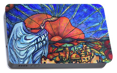 Portable Battery Charger featuring the painting Shofar by Rae Chichilnitsky