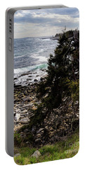 Portable Battery Charger featuring the photograph Shore And Battered Tree, Pemaquid Point, Bristol, Maine  -60084 by John Bald