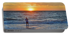 Shore Fishing At Sunrise   Portable Battery Charger